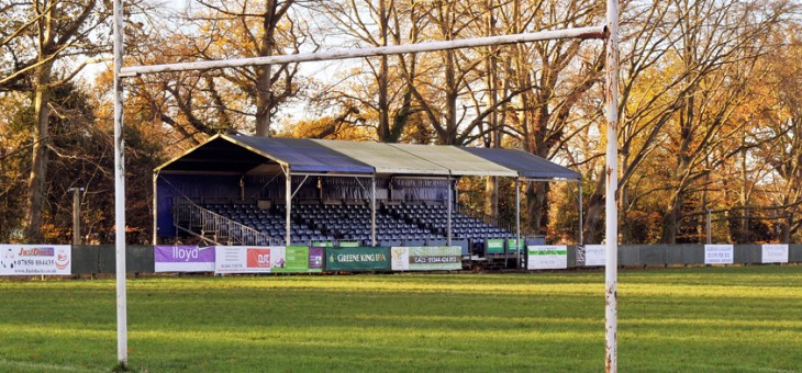 Looking at Bracknell Rugby Clubs main stand.