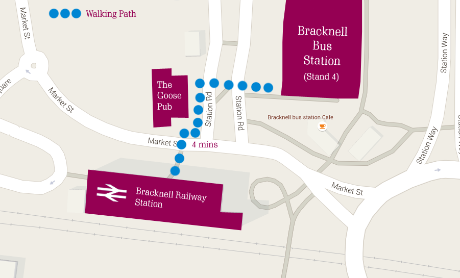 How to find the bus station from Bracknell Railway Station.