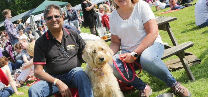 Bracknell Beer Festival at Bracknell Rugby Club Frank, Carol and Darcie the labradoodle.