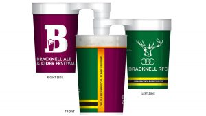 The new stackable plastic cups that will be in use at Bracknell Ale & Cider Festival 2021.